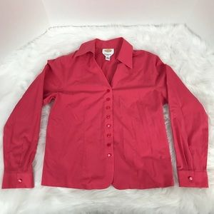 Talbots Coral Pink Button Down Long Sleeve Blouse